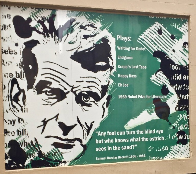 A memorial to Samuel Beckett near where he used to live and write.