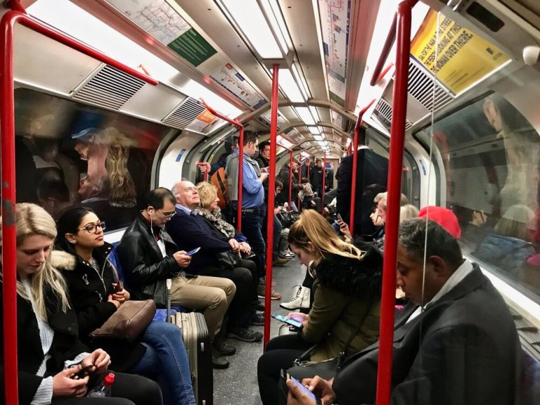 A London Underground train during off-peak hours