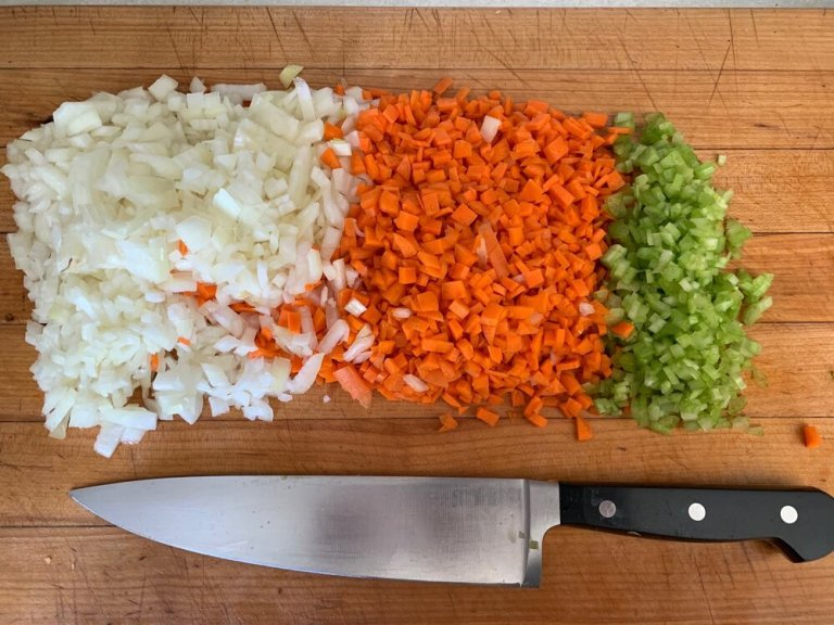 Soffritto - a mix of diced onions, carrots, and celery