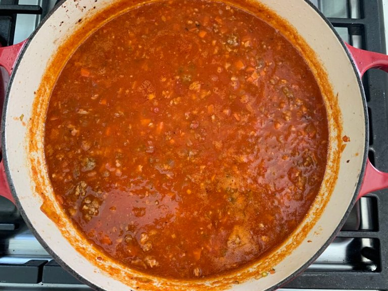 The ragù before it goes in the oven