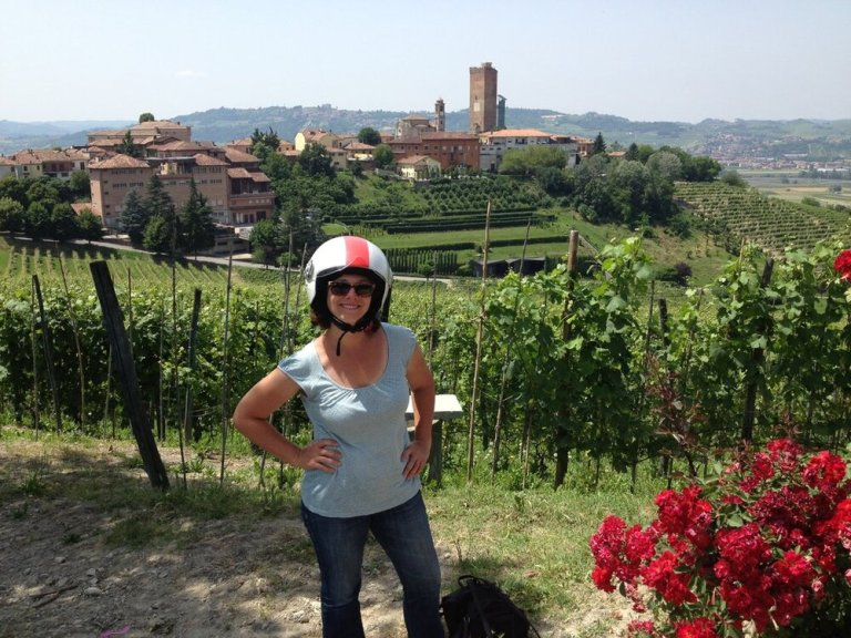 The village of Barbaresco during a Vespa day