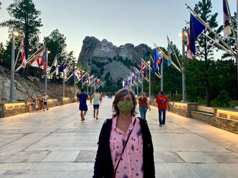 Masking up at Mount Rushmore!
