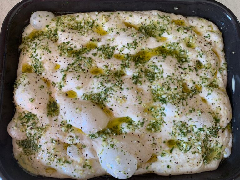 Focaccia ready for the oven