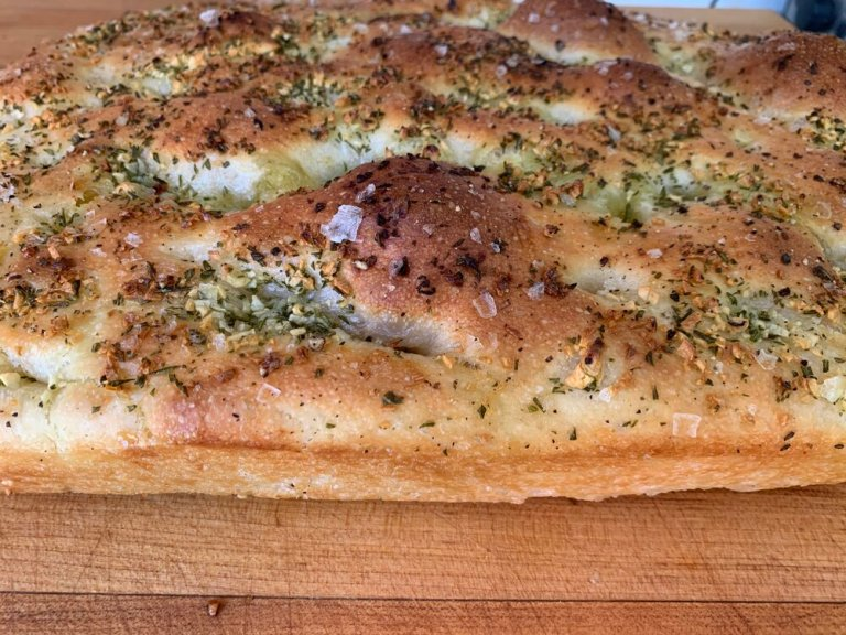Focaccia fresh from the oven