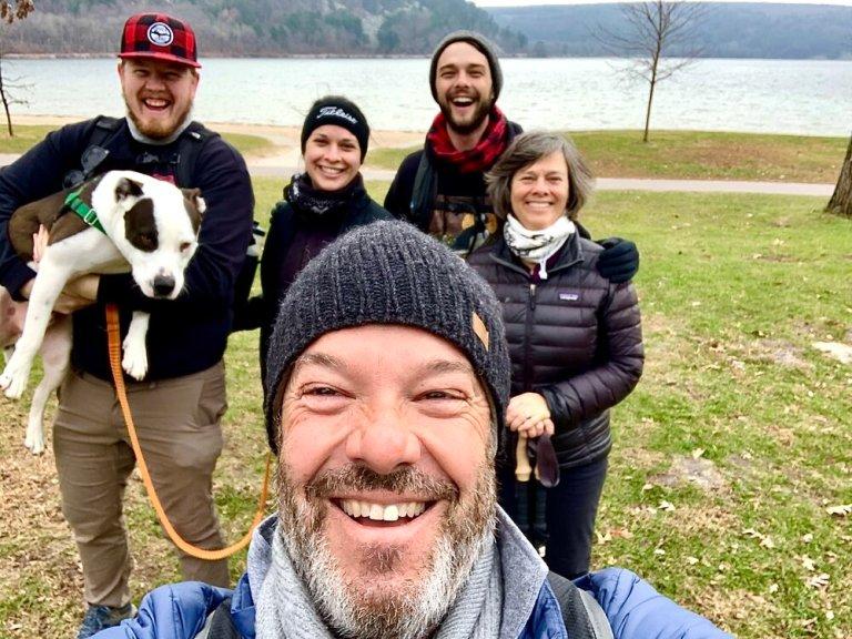 Enjoying a hike at Devil's Lake State Park, Wisconsin