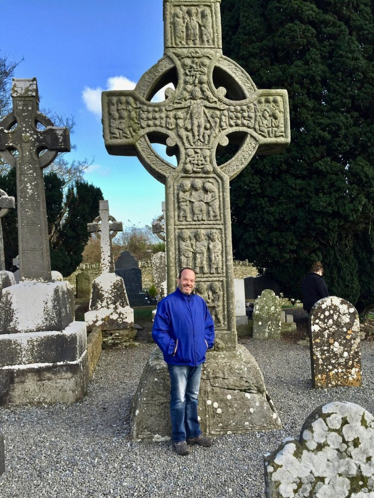 Greg with one of the High Crosses of Ireland