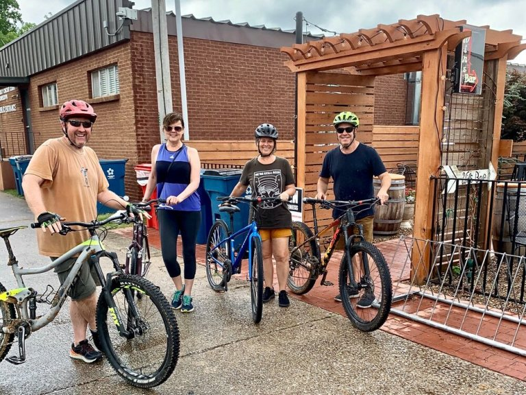 Biking with our good friends Jimmy and Kimber in Bentonville, Arkansas