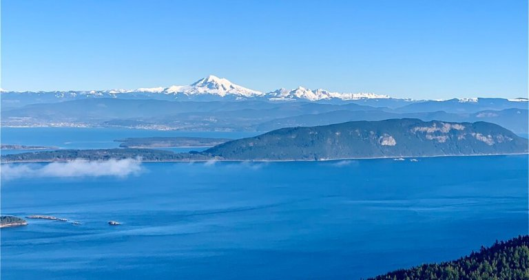 Mount Baker from the top of Orcas Island