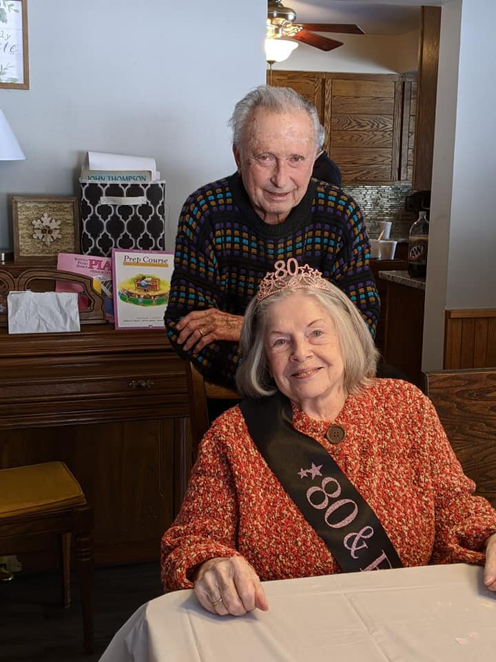Mom and Dad at Mom's 80th birthday party