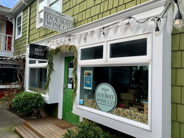 Doe Bay Wine Company's charming little shop in Eastsound, Orcas Island
