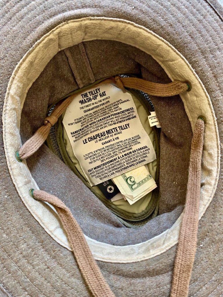 The Tilley Secret Pocket inside the hat
