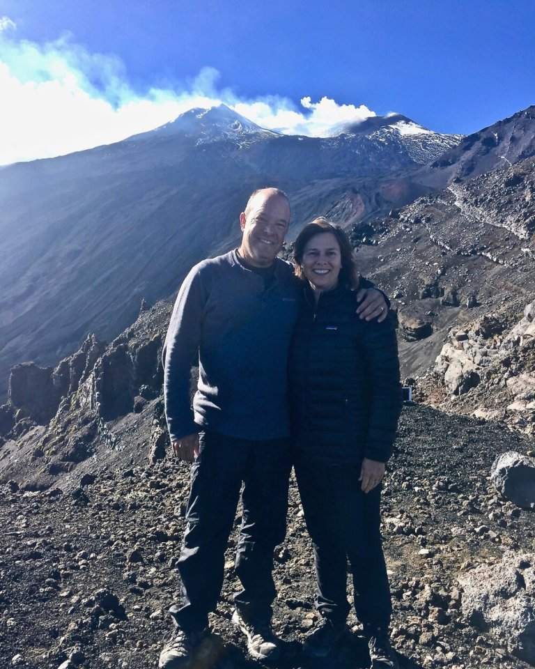 With our Columbia hiking pants on Mount Etna