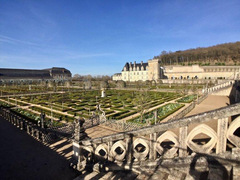 The elaborate gardens at Chateau de Villandry