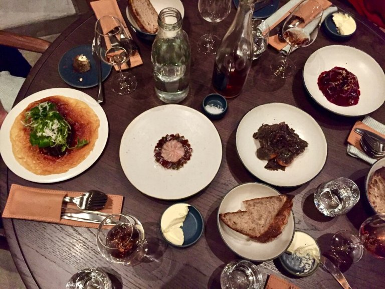 Our table at Restaurant 108 in Copenhagen, Denmark
