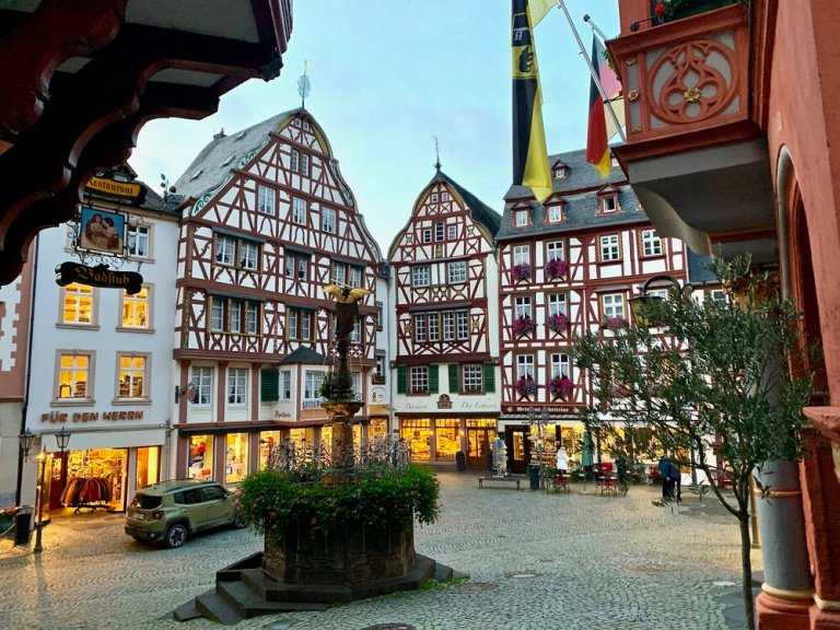 Market square in Bernkastel, Germany on the Mosel River